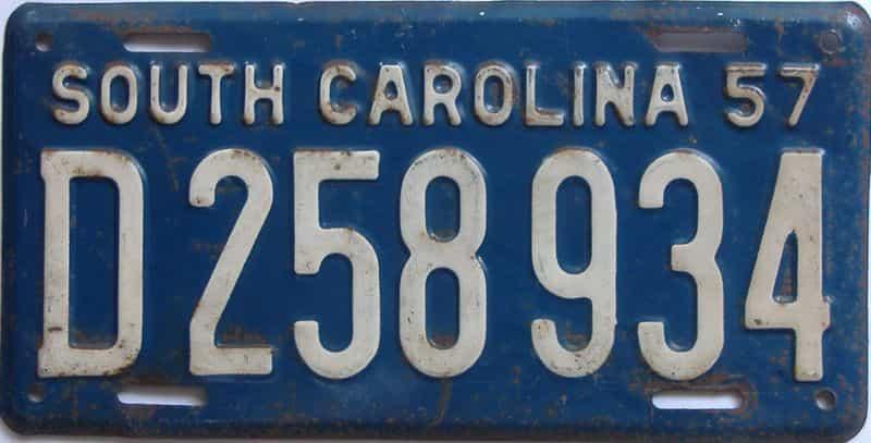 1957 South Carolina (Single) license plate for sale