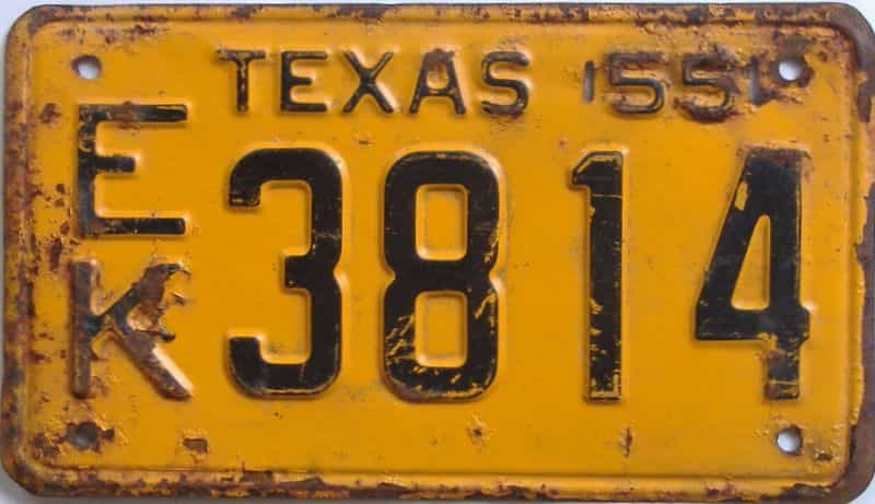 1955 Texas (Single) license plate for sale