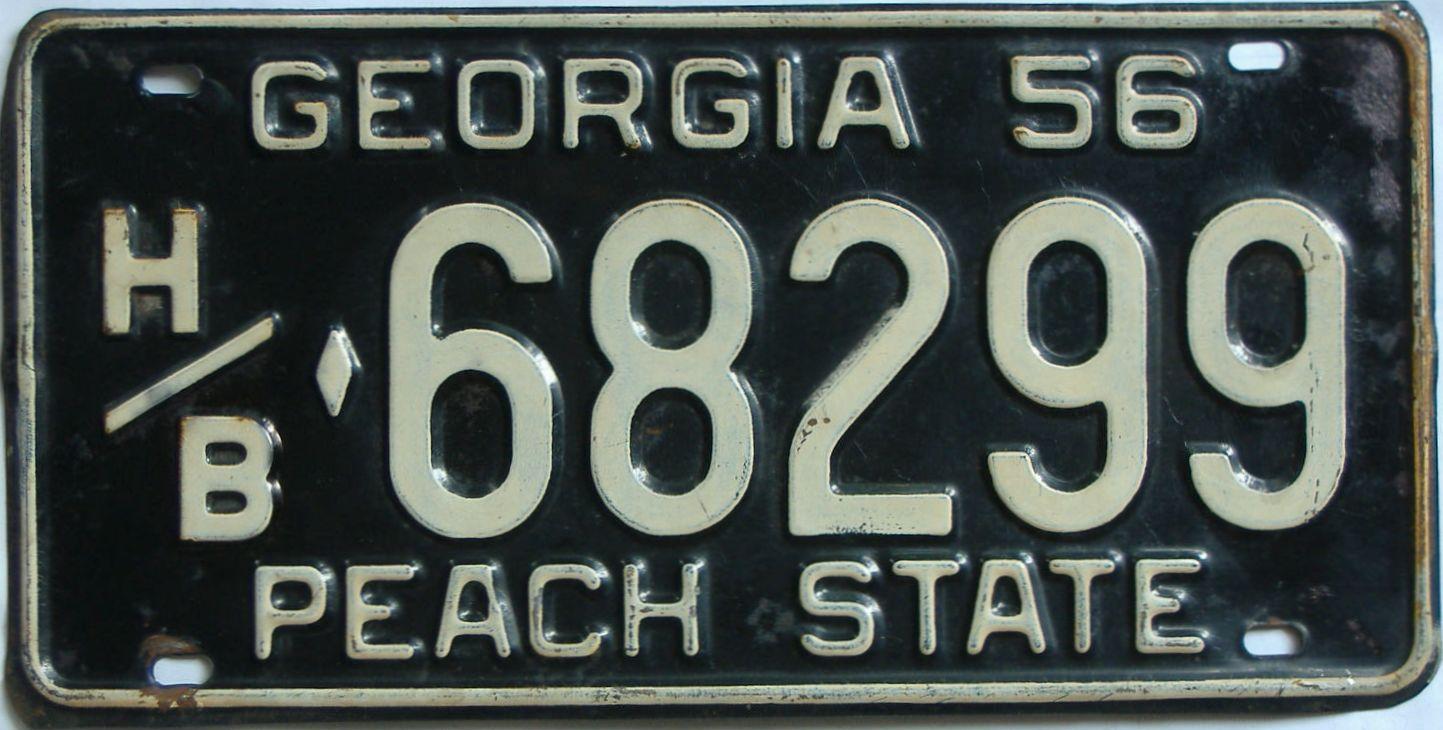 YOM 1956 Georgia license plate for sale