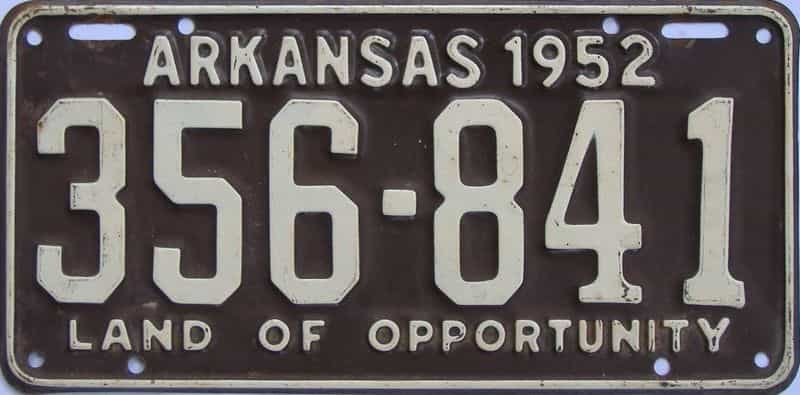 1952 AR license plate for sale