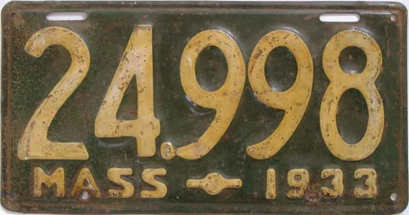 1933 MA (Single) license plate for sale