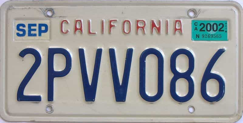 2002 California (Single) license plate for sale