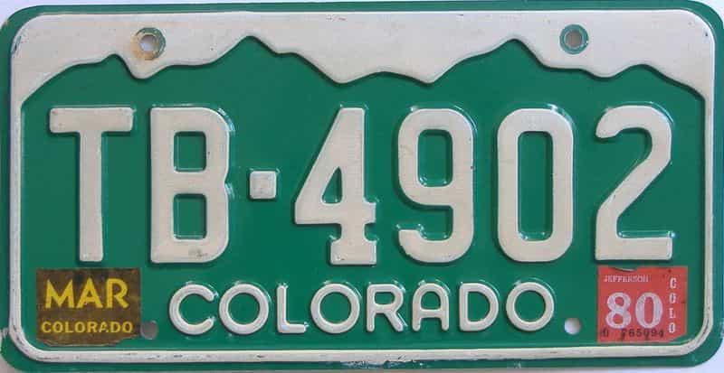 1980 Colorado (Single) license plate for sale