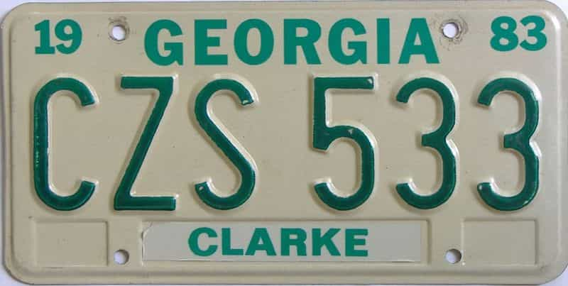 1983 GA license plate for sale