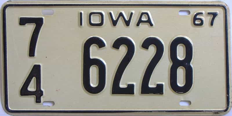 1967 Iowa (Single) license plate for sale