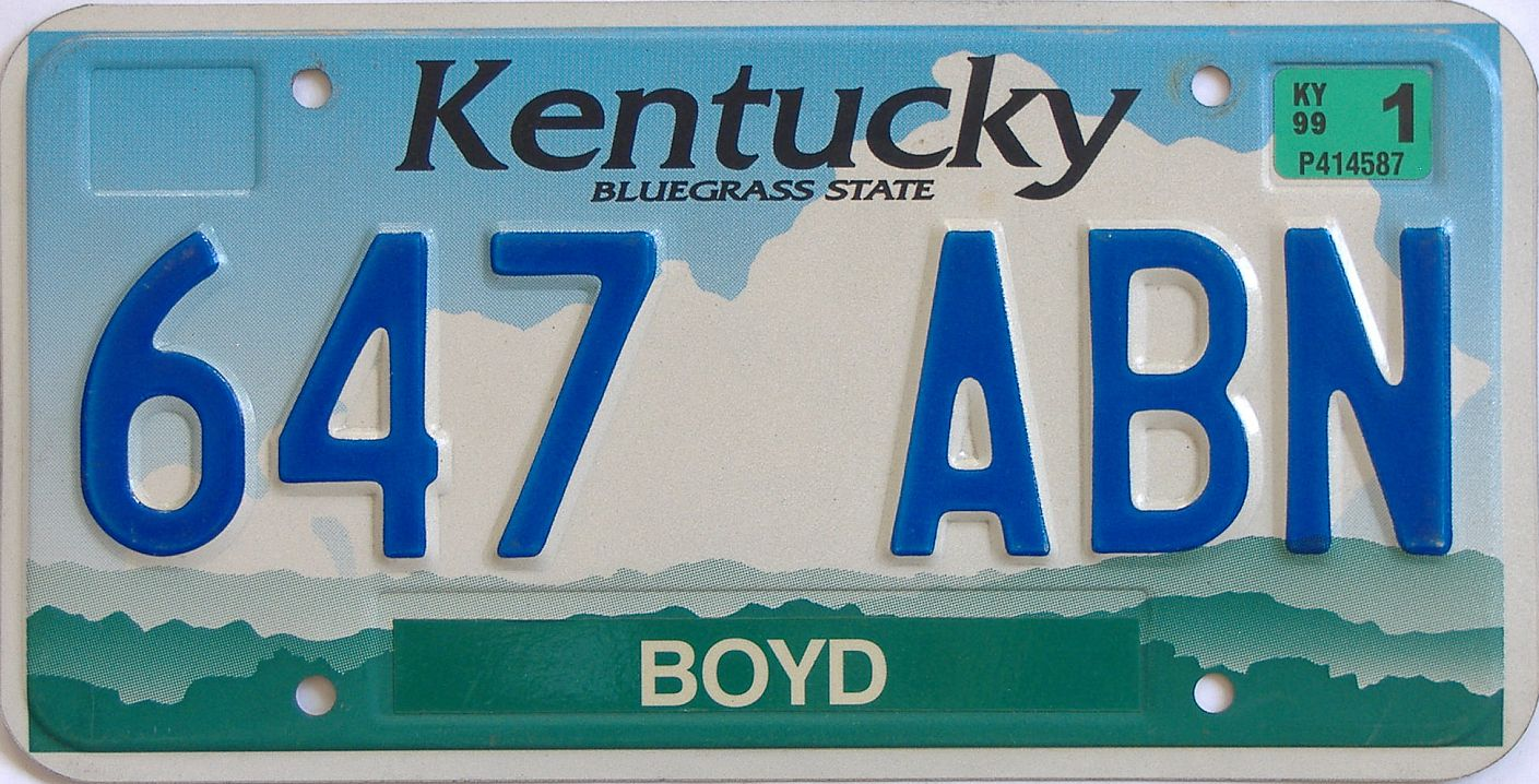 1999 Kentucky (Natural) license plate for sale
