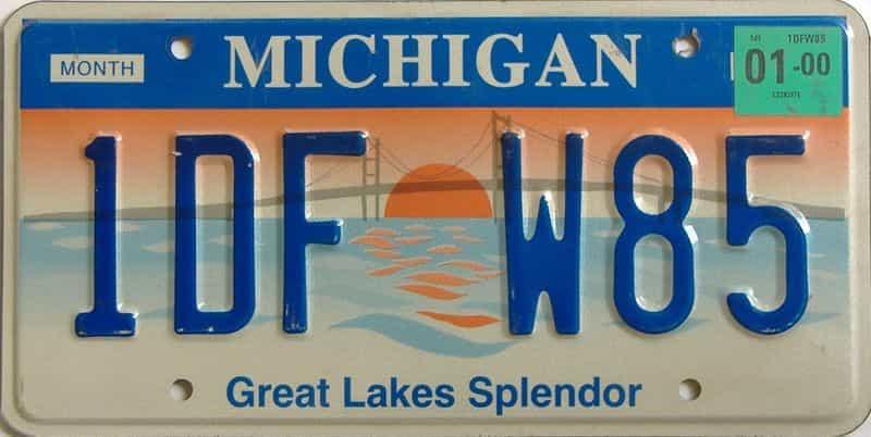 2000 Michigan license plate for sale