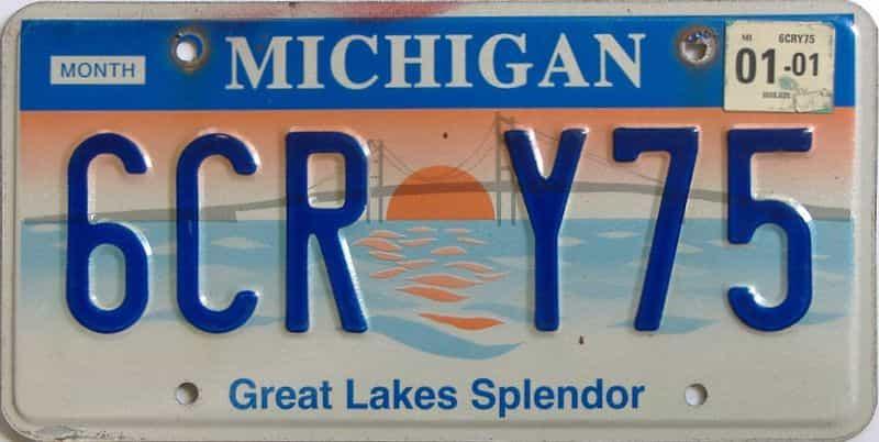 2001 Michigan license plate for sale