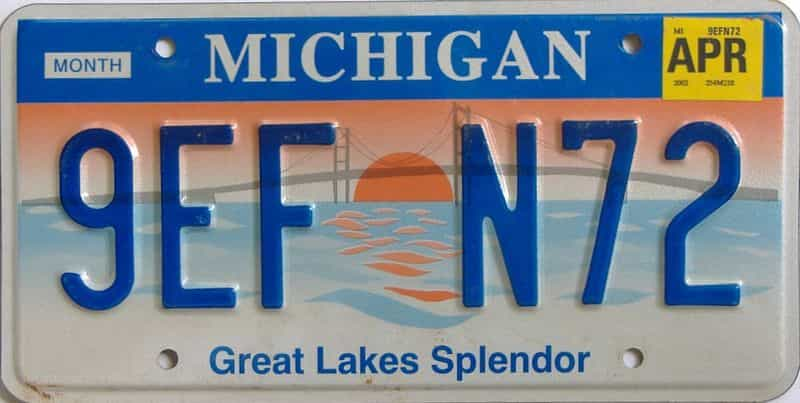 2002 MI (Natural) license plate for sale