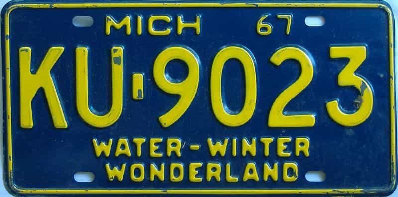 1967 MI license plate for sale
