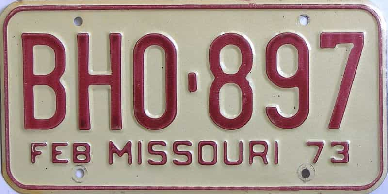 1973 Missouri (Single) license plate for sale