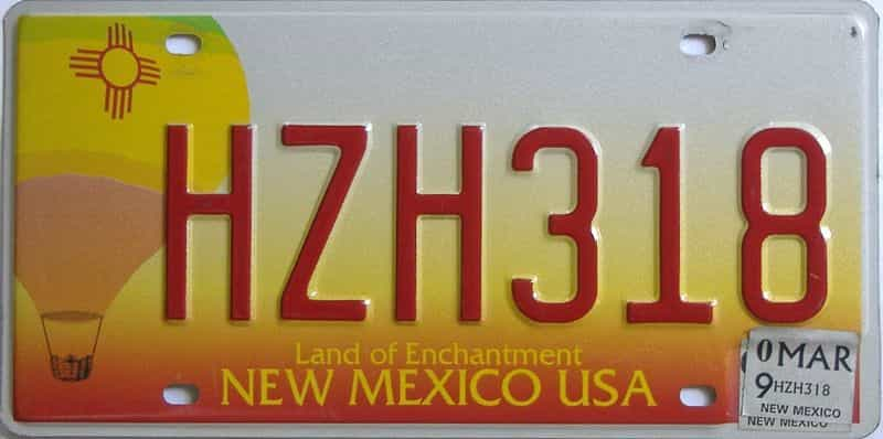 2009 New Mexico license plate for sale