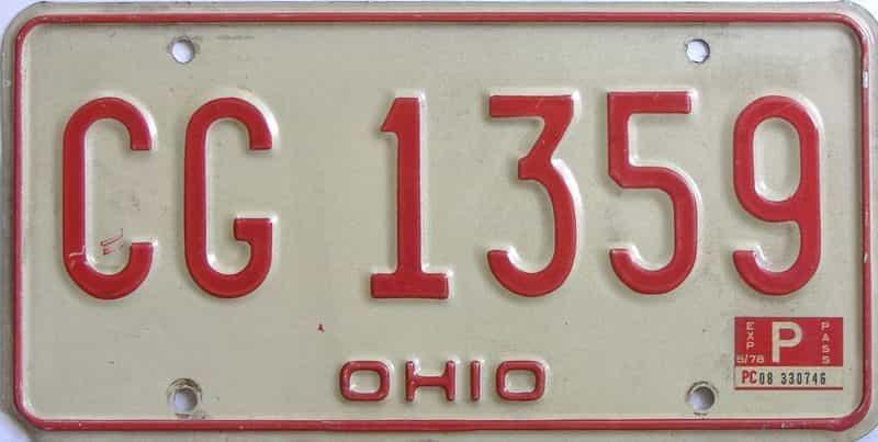 1978 Ohio  (Single) license plate for sale