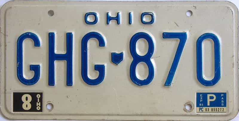 1981 Ohio (Single) license plate for sale