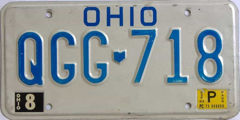 1983 OH (Single) license plate for sale