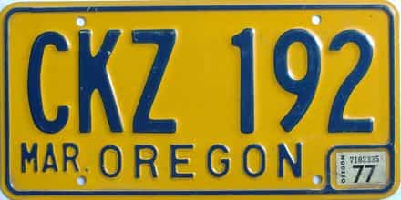 1977 Oregon (Natural Single) license plate for sale