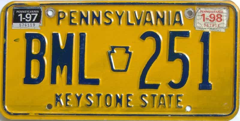 1998 Pennsylvania license plate for sale