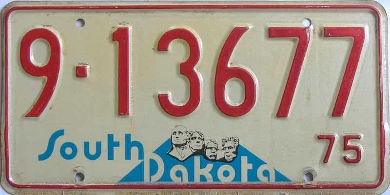 1975 South Dakota (Single) license plate for sale