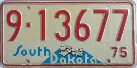 1975 South Dakota (Single) license plate for sale