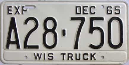 1965 Wisconsin (Truck) license plate for sale