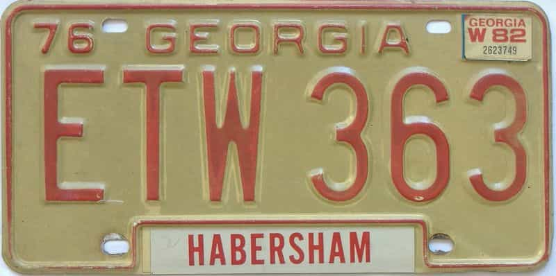 YOM 1982 Georgia license plate for sale