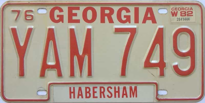 1982 GA license plate for sale