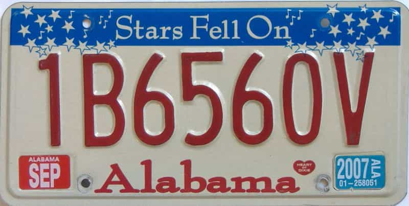 2007 Alabama license plate for sale