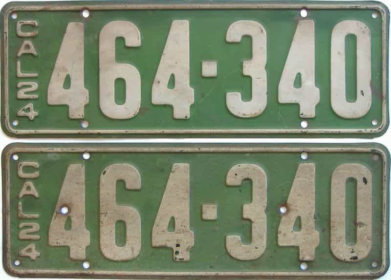 1924 California  (Pair) license plate for sale