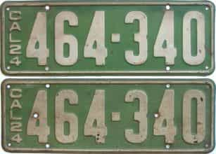 YOM 1924 California (Pair) license plate for sale