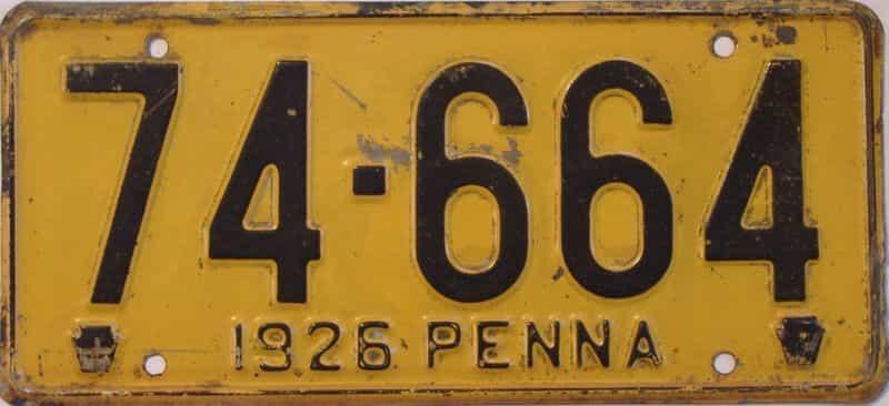 1926 Pennsylvania (Single) license plate for sale