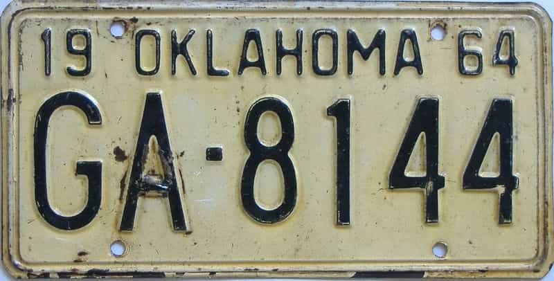 1964 OK license plate for sale