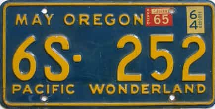 1965 Oregon (Single) license plate for sale