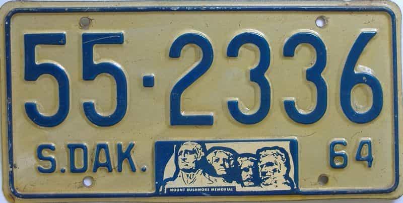 1964 South Dakota  (Single) license plate for sale