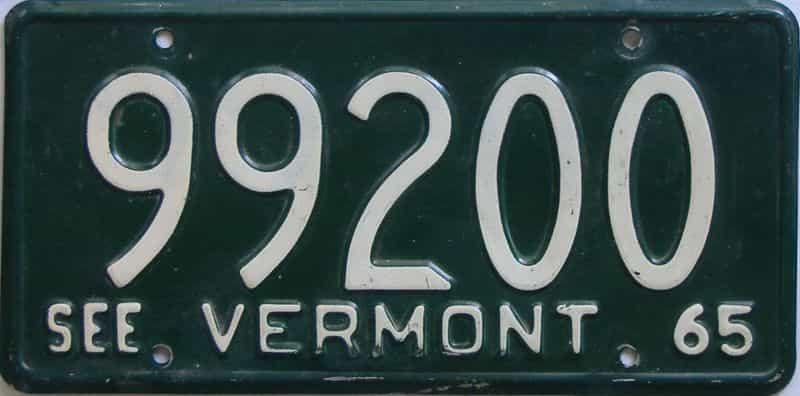 1965 VT (Single) license plate for sale