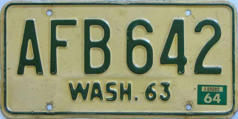 1964 WA (Single) license plate for sale