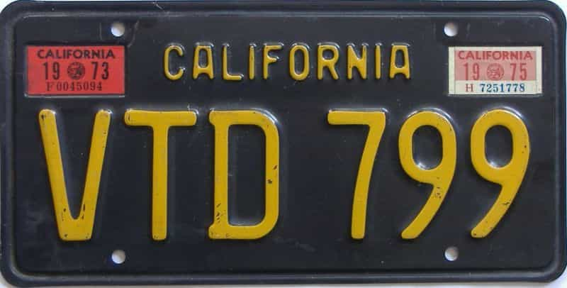 1975 California (Single) license plate for sale