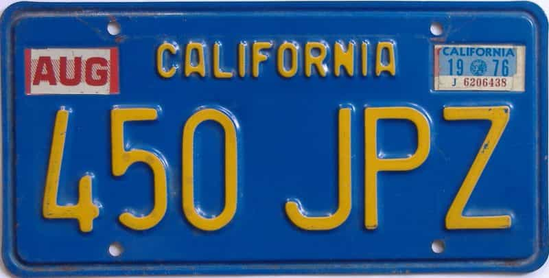 1976 California (Single) license plate for sale