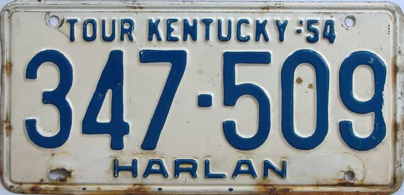 1954 KY license plate for sale