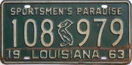 1963 Louisiana license plate for sale