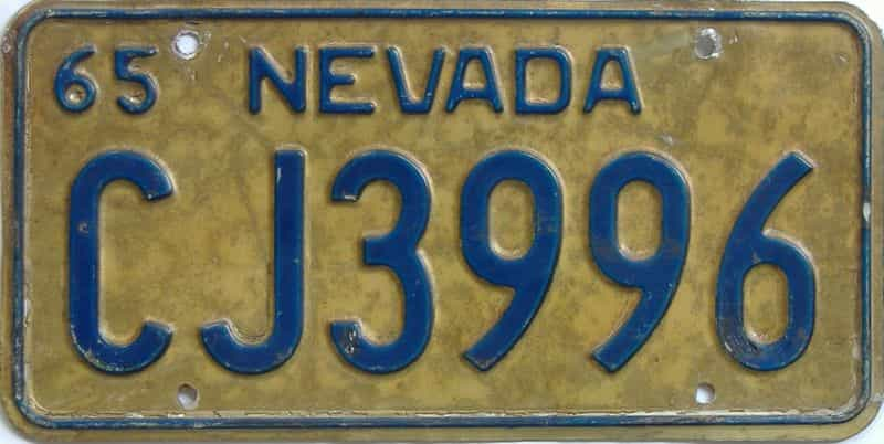 1965 Nevada (Single) license plate for sale