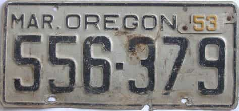 1953 Oregon (Single) license plate for sale
