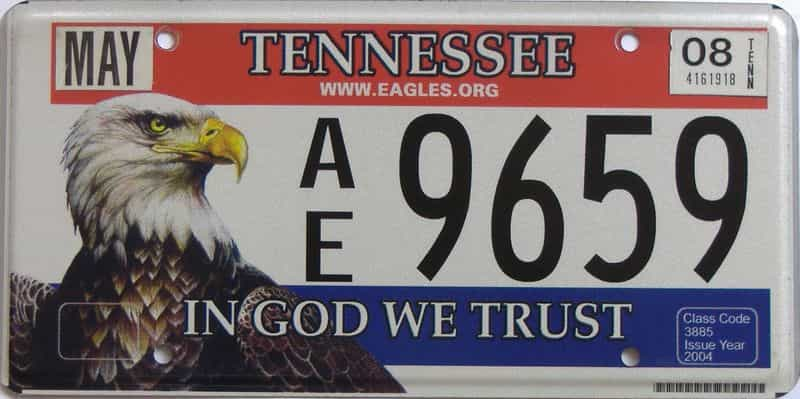 2008 TN (Natural) license plate for sale