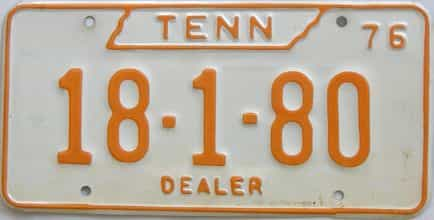 1976 Tennessee (Dealer) license plate for sale