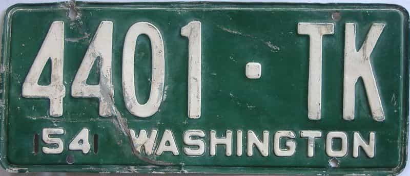 1954 WA (Single) license plate for sale