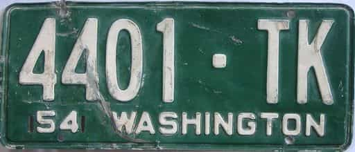 1954 Washington (Single) license plate for sale
