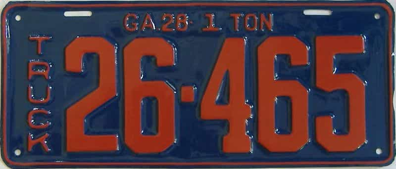 YOM RESTORED 1928 GA (Truck) license plate for sale