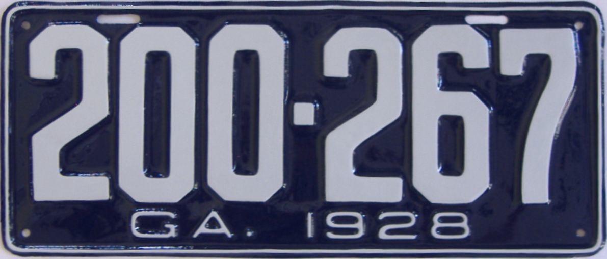 YOM RESTORED 1928 Georgia license plate for sale