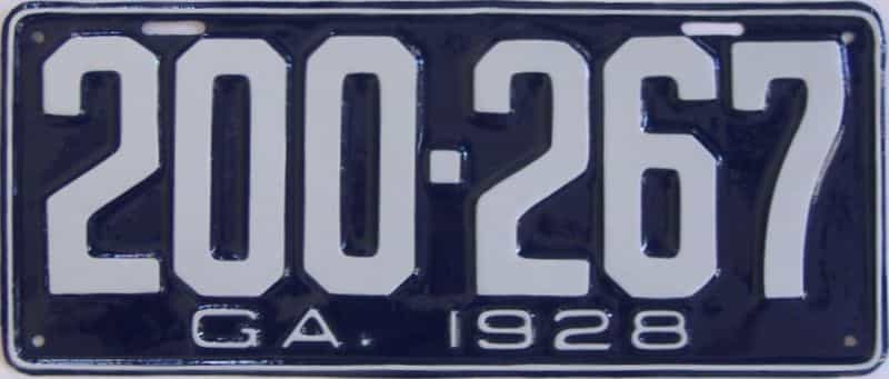 YOM RESTORED 1928 GA license plate for sale