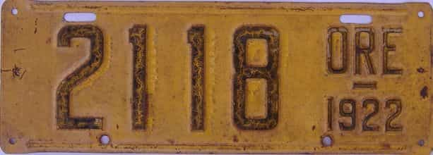 1922 Oregon (Single) license plate for sale