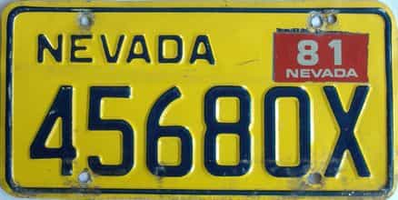 1981 Nevada (Non Passenger) license plate for sale